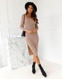 Изчистена дамска рокля в цвят капучино - код 9782