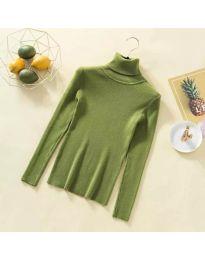 Дамска блуза с поло яка в зелено - код 0055