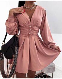 Екстравагантна рокля в цвят пудра - код 4343