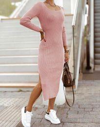 Изчистена дамска рокля в цвят пудра - код 2326
