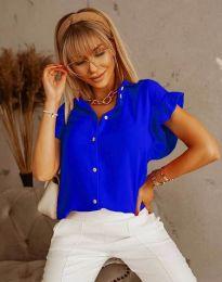 Дамска риза с къдрици в тъмносиньо - код 4136