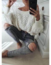 Дамски пуловер в бяло - код 5147