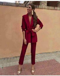 Елегантен дамски комплект в цвят бордо - код 549