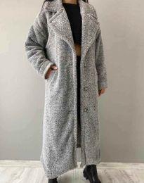 Дълго дамско палто в сиво - код 0465
