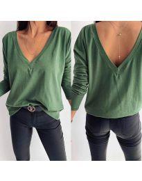 Зелена дамска блуза с V-образно деколте и гръб - код 3376