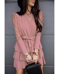 Елегантна рокля в розово - код 8384