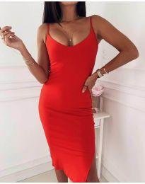 Изчистена рокля в червено - код 0088
