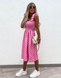 Дамска рокля в цвят циклама на точки - код 4535 - 5