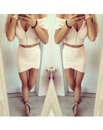 Дамски сет от пола и блузка с цип в цвят пудра - код 663