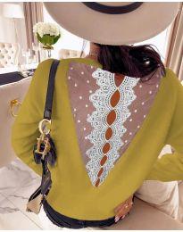 Дамска блуза с дантела в цвят горчица - код 7077