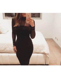 Стилна черна рокля с тюлени ръкави - код 679