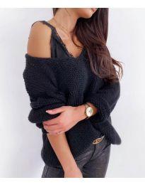 Плетена дамска блуза в черно - код 112