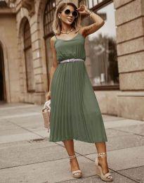 Кокетна плисирана рокля в масленозелено - код 1249