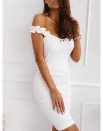 Дамска рокля с ефектни презрамки в бяло - код 029