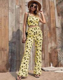 Дамски комплект в жълто с десен на пеперуди - код 6899