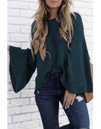 Блуза с ефектни ръкави в цвят тюркоаз - код 076