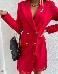 Дамска рокля тип сако в червено - код 6955