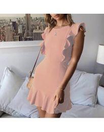 Елегантна рокля в цвят праскова - код 548