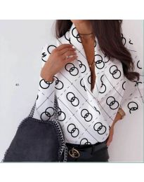 Стилна дамска риза-боди в бяло с отворено деколте - код 688