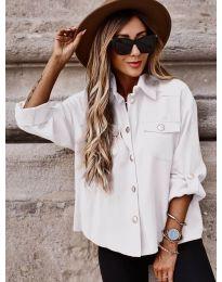 Дамска риза в бяло широка кройка - код 5293