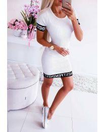 Спортна рокля по тялото в бяло - код 3213