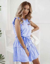 Атрактивна рокля в синьо райе - код 7211