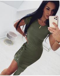 Спортно - елегантна рокля в маслено зелено - код 059