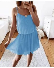 Атрактивна дамска рокля в светлосиньо - код 8596