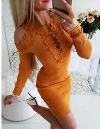 Елегантна рокля в цвят горчица с бродерии - код 568