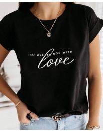 Черна дамска тениска Love - код 3660