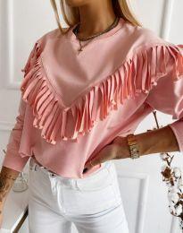 Дамска блуза с ресни в розово - код 12035