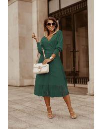 Дамска рокля в маслено зелено - код 9994