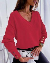 Изчистена дамска блуза в червено - код 5236