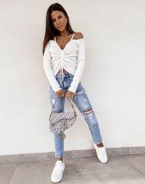 Атрактивна дамска блуза в бяло - код 0936