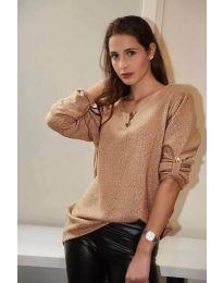 Дамска блуза от бляскава материя в бежово - код 646