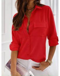 Класическа дамска риза в червено - код 450