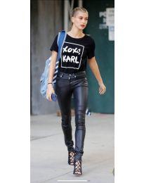 Дамска тениска в черно с принт - код 957