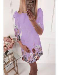 Елегантна рокля с флорални мотиви в светло лилаво - код 240