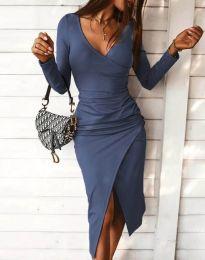 Стилна дамска рокля в синьо - код 4769