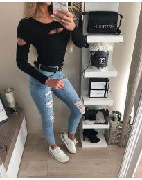 Ефектна дамска блуза в черно - код 3518
