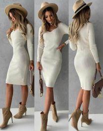 Стилна дамска рокля в бяло - код 4845