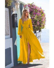 Дълга рокля с цепка в цвят горчица  - код 8477