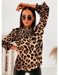 Дамска блуза с атрактивен десен и къдрички - код 496 - 4