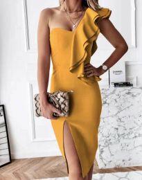 Атрактивна дамска рокля в цвят горчица - код 6584