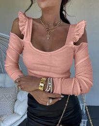 Блуза в цвят праскова с ефектни ръкави - код 2380