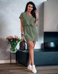 Дамска рокля в масленозелено - код 3214