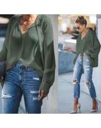 Маслено зелена свободна дамска блуза - код 277