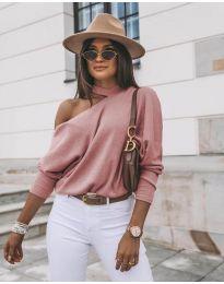 Дамска блуза в цвят пудра - код 5618