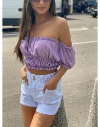 Дамска блуза с голи рамене в лилаво - код 1162