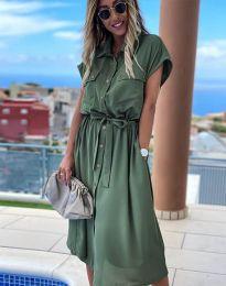 Свободна дамска рокля в масленозелено - код 6344